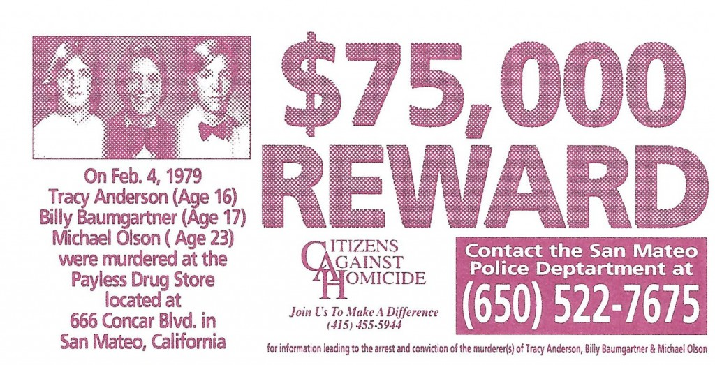 TRACY ANDERSON, BILLY BAUMGARTNER AND MICHAEL OLSON – $75,000 REWARD