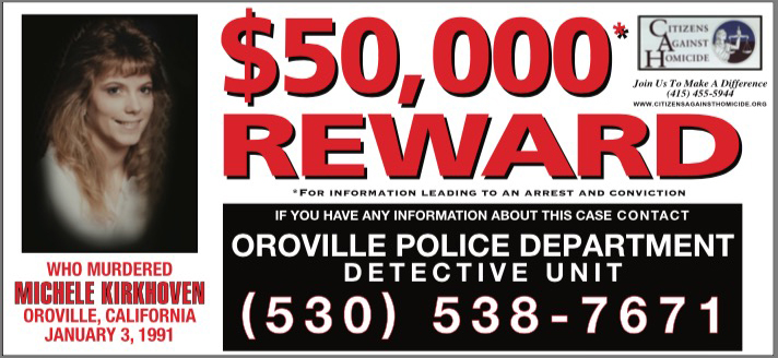 $50,000 Reward for information leading to an arrest and conviction for the murder of Michele Kirkhoven