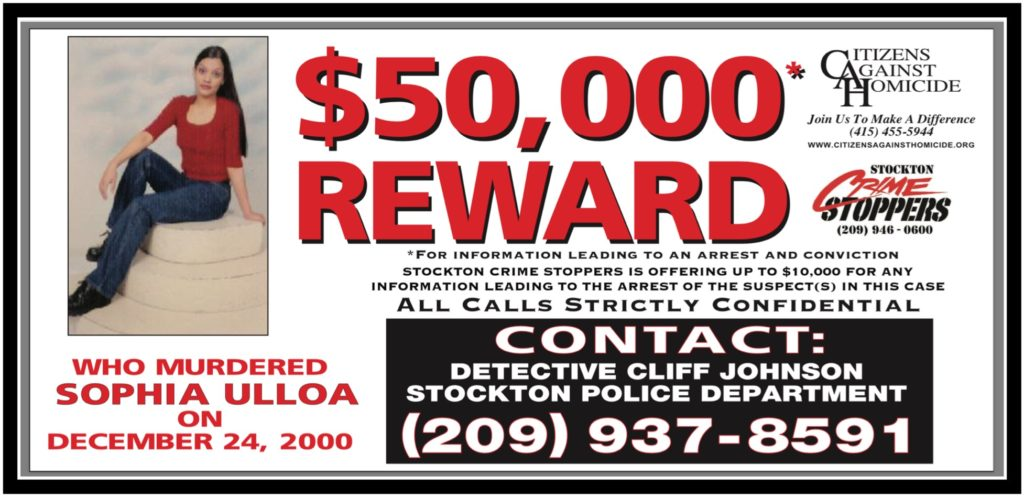 Who murdered Sophia Ulloa, Stockton CA - $10,000 Reward